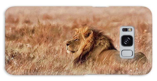 Black-maned Lion Of The Kalahari Waiting Galaxy Case