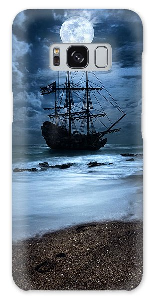 Black Pearl Pirate Ship Landing Under Full Moon Galaxy Case by Justin Kelefas