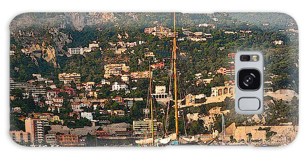 Black Sailboat At Villefranche II Galaxy Case by Steven Sparks