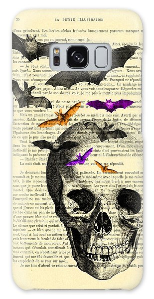 Halloween Galaxy Case - Black Skull And Bats On A Dictionary Page by Madame Memento
