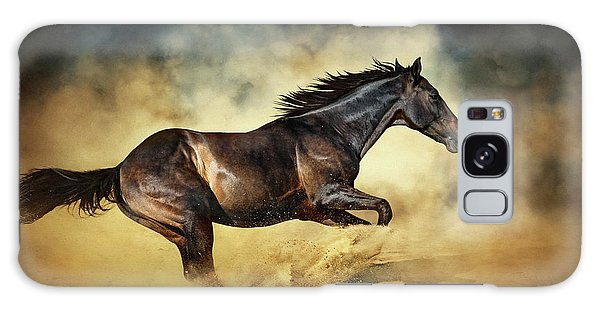 Black Stallion Horse Galloping Like A Devil Galaxy Case