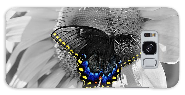 Black Swallowtail And Sunflower Color Splash Galaxy Case