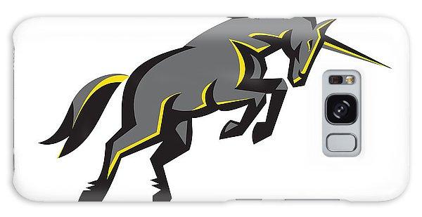 Black Unicorn Horse Charging Isolated Retro Galaxy Case