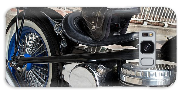 Black Vintage Style Motorcycle With Chrome And Black Helmet Galaxy Case by Jason Rosette