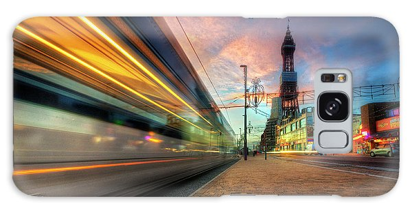 Blackpool Tram Light Trail Galaxy Case by Yhun Suarez