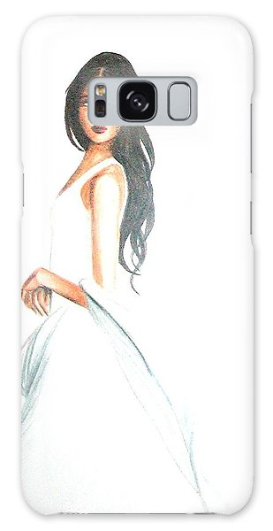 Galaxy Case featuring the drawing Blanca by MB Dallocchio