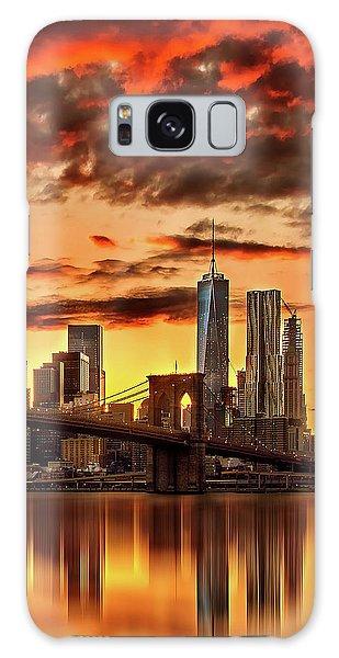 Blazing Manhattan Skyline Galaxy Case by Az Jackson