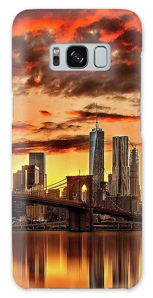 Beautiful Sunrise Galaxy Case - Blazing Manhattan Skyline by Az Jackson