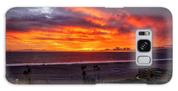 Blazing Sunset Over Malibu Galaxy Case