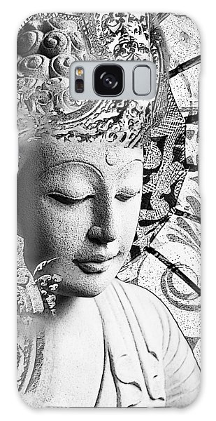 Galaxy Case featuring the digital art Bliss Of Being - Black And White Buddha Art by Christopher Beikmann