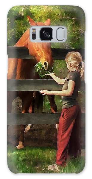 Blond With Horse Galaxy Case