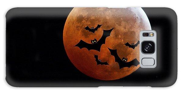 Halloween Galaxy Case - Blood Full Moon And Bats by Marianna Mills
