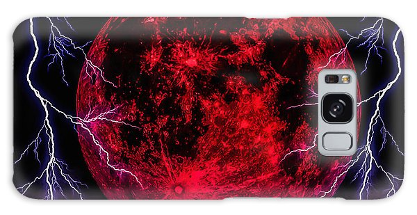 Blood Moon Over Mist Lake Galaxy Case by Naomi Burgess