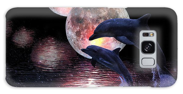 Dolphins In The Moonlight Galaxy Case