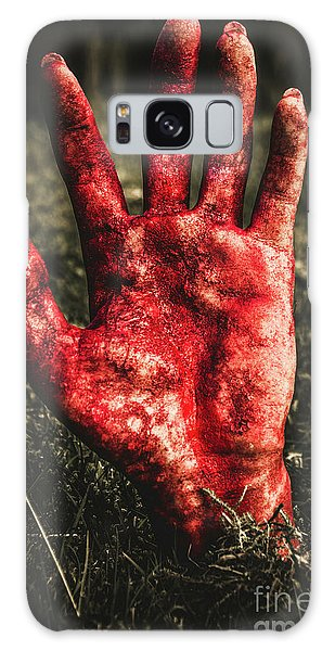 Zombies Galaxy Case - Blood Stained Hand Coming Out Of The Ground At Night by Jorgo Photography - Wall Art Gallery