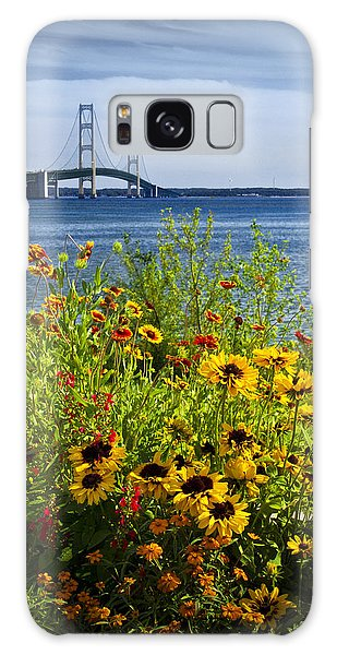 Blooming Flowers By The Bridge At The Straits Of Mackinac Galaxy Case