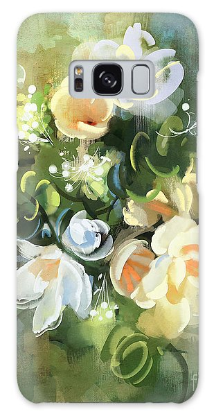 Galaxy Case featuring the painting Blooming by Tithi Luadthong