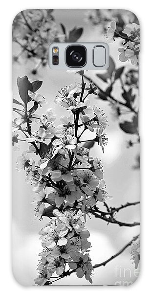 Blossoms In Black And White Galaxy Case