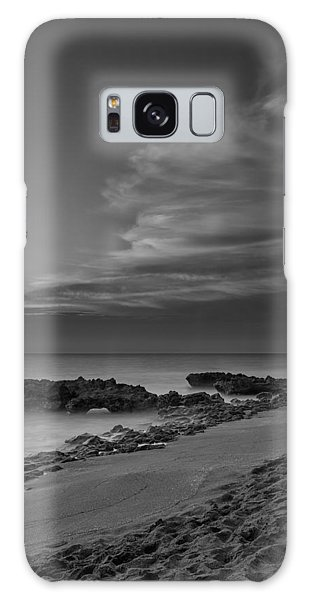 Blowing Rocks Black And White Sunrise Galaxy Case