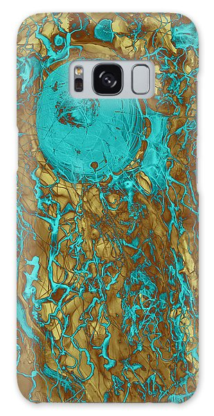 Blue And Gold Abstract Galaxy Case
