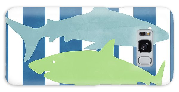Hammerhead Shark Galaxy S8 Case -  Blue And Green Sharks- Art By Linda Woods by Linda Woods