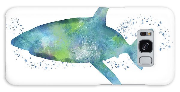 Swimming Galaxy Case -  Blue And Green Watercolor Shark 1-art By Linda Woods by Linda Woods