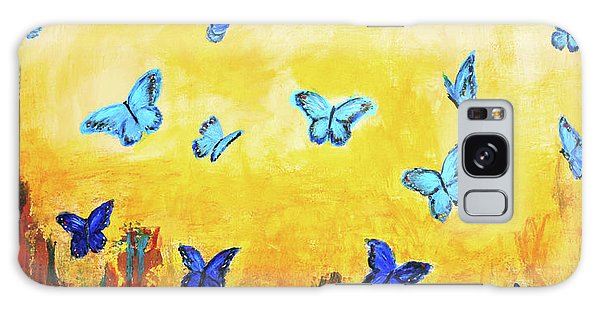 Blue And Red Butterflies Galaxy Case