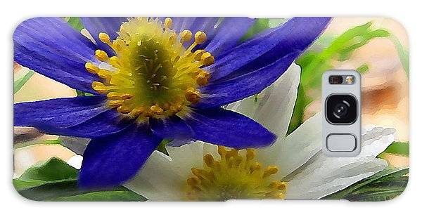Galaxy Case featuring the digital art Blue And White Anemones by Shelli Fitzpatrick