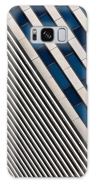 Blue And White Diagonals Galaxy Case