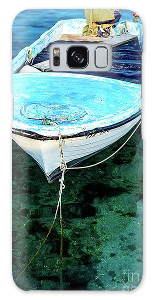 Blue And White Fishing Boat On The Adriatic - Rovinj, Croatia Galaxy Case