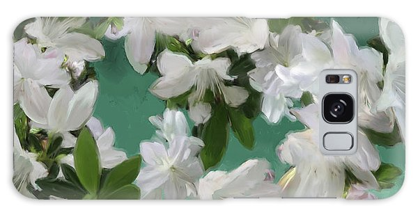 Blue And White Flower Art  Galaxy Case