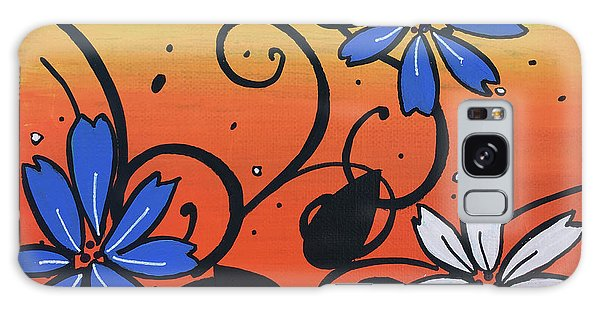 Blue And White Flowers Galaxy Case