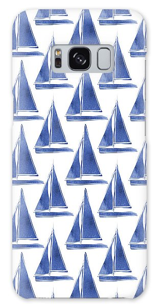 Blue And White Sailboats Pattern- Art By Linda Woods Galaxy Case by Linda Woods