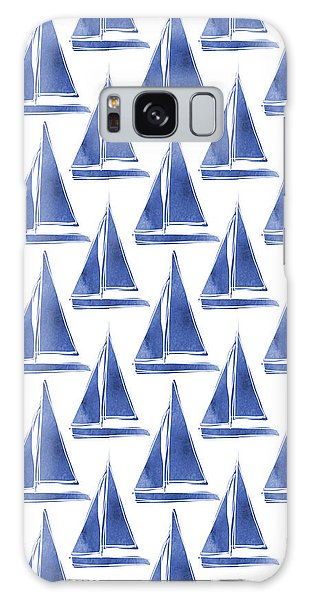 Boat Galaxy S8 Case - Blue And White Sailboats Pattern- Art By Linda Woods by Linda Woods