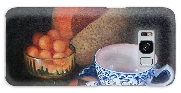 Blue And White Teacup And Melon Galaxy Case by Marlene Book