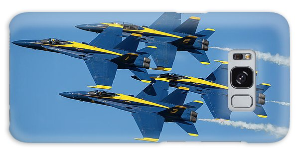 Galaxy Case featuring the photograph Blue Angels Diamond Formation by Adam Romanowicz