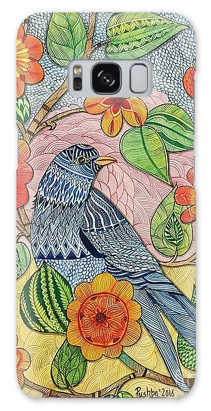 Madhubani Galaxy Case - Blue Bird And Flowers by Pushpa Sharma