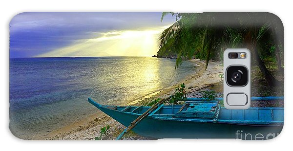 Blue Boat And Sunset On Beach Galaxy Case