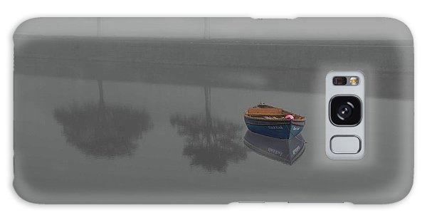 Blue Boat In Fog Galaxy Case