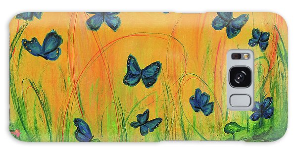 Blue Butterflies In Early Morning Garden Galaxy Case