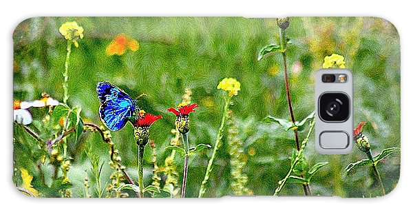 Blue Butterfly In Meadow Galaxy Case by John  Kolenberg