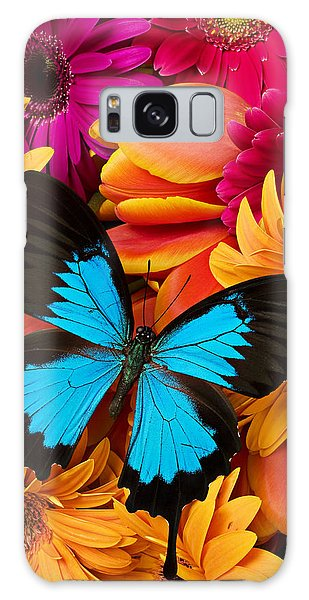 Blue Butterfly On Brightly Colored Flowers Galaxy Case