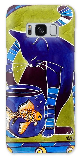 Blue Cat With Goldfish Galaxy Case