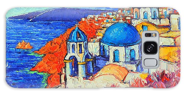Blue Domes In Oia Santorini Greece Original Impasto Palette Knife Oil Painting By Ana Maria Edulescu Galaxy Case