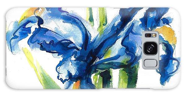 Blue Dutch Iris Flower Painting Galaxy Case