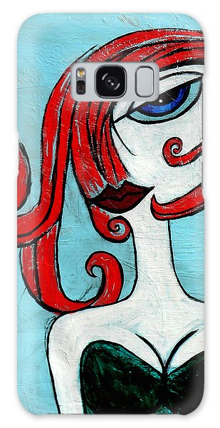 Blue Eyed Redhead In Green Dress Galaxy Case