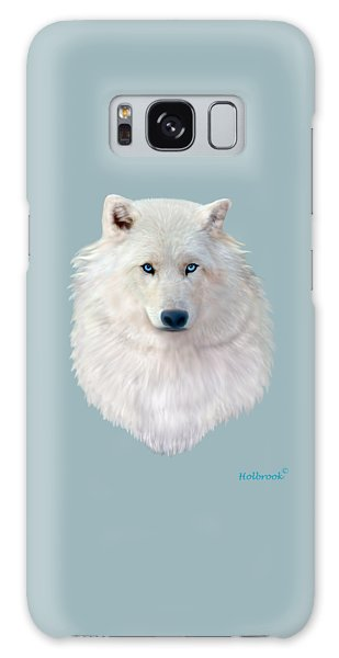 Blue-eyed Snow Wolf Galaxy Case