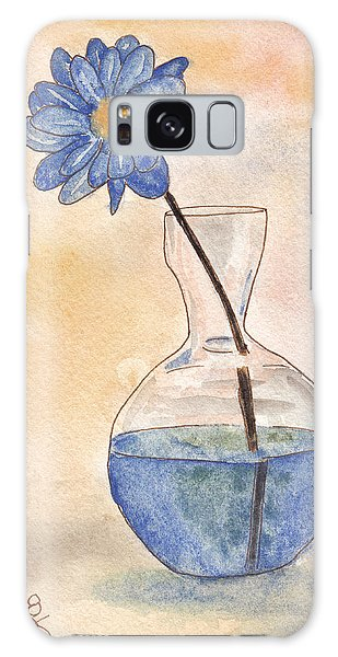 Blue Flower And Glass Vase Sketch Galaxy Case