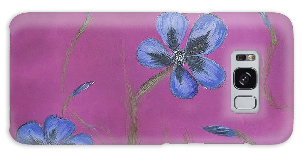 Blue Flower Magenta Background Galaxy Case