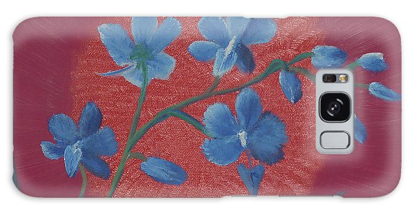 Blue Flower On Magenta Galaxy Case